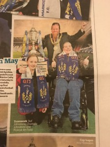 Deputy Leader in local paper promoting the Scottish Cup visit to Kilmarnock.